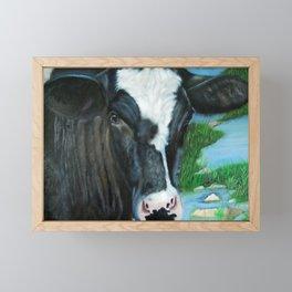 Muddy Fields Cow Painting Framed Mini Art Print