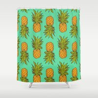 pineapples Shower Curtains featuring Pineapples by Stephanie Keir