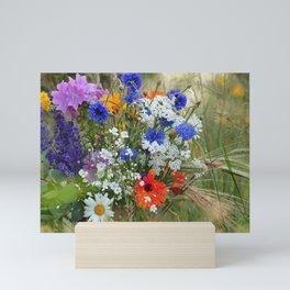 Wildflowers in a summer meadow Mini Art Print
