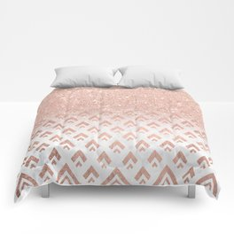 Faux rose gold glitter ombre rose gold foil triangles chevron geometric on white marble Comforters