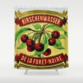Vintage 1965 French Cherry Wine Bottle Label Kirchenwasser De La Foret-Noire Shower Curtain