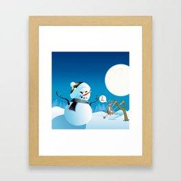 "Angry Snowman and Santa's Reindeer saying ""Oh my deer!"" Framed Art Print"