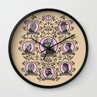 royal tenenbaums Wall Clocks featuring The Royal Tenenbaums and friends by M. Gulin