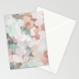 Blush Pink Mint Green Blue Coral Peach Abstract Flower Wall Art Springtime Painting Modern Wall Art Stationery Cards