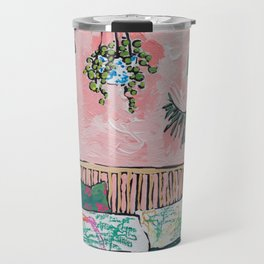 Rattan Bench in Painterly Pink Jungle Room Travel Mug