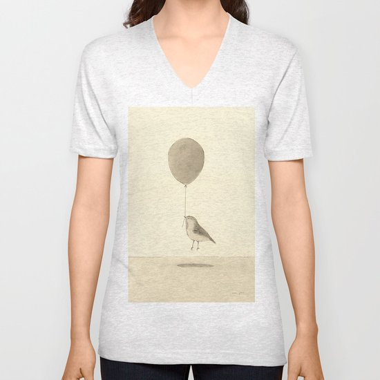 bird with a balloon Unisex V-Neck