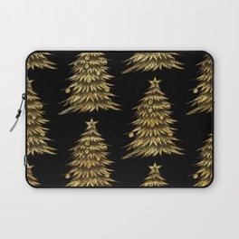Gold Christmas Tree On Black Christmas Pattern Laptop Sleeve
