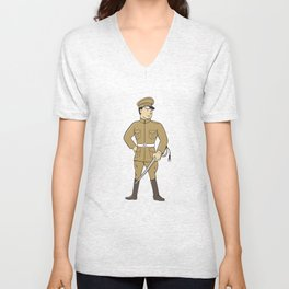 World War One British Officer Sword Standing Cartoon  Unisex V-Neck