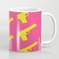 guns Mugs featuring Guns Papercut by Sally Eyeballs