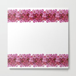 Watercolor Pink Floral Border Pattern Metal Print