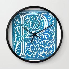 Letter P Antique Floral Letterpress Wall Clock
