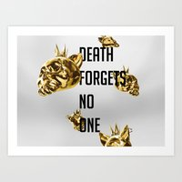 Death Forgets No One - Cats Art Print