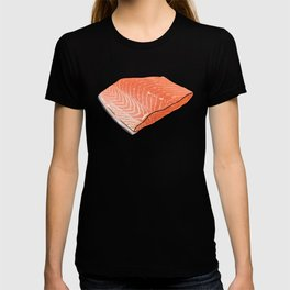 Fish Seafood Feast, Salmon edition on Peach T-shirt