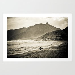 The Surfer and the Mountain Art Print