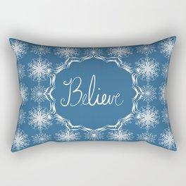 Winter Snow Believe Rectangular Pillow