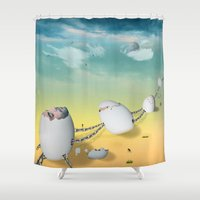 whimsical Shower Curtains featuring whimsical by mark ashkenazi