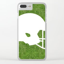 american football helmet symbol on the grass Clear iPhone Case