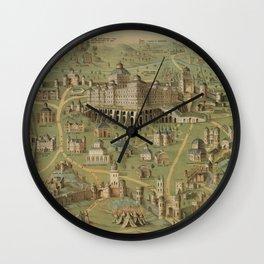 Vintage Pictorial Map of Jerusalem Israel (1871) Wall Clock