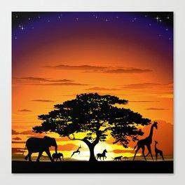 Wild Animals on African Savanna Sunset Canvas Print