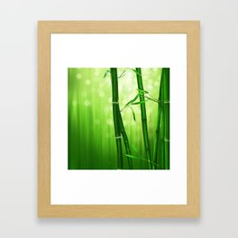 Bamboo Stalks with a Green Bokeh Background Framed Art Print