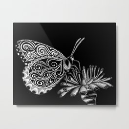 Tangled Butterfly on Black Metal Print