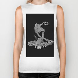 0111-DJA Abstract Nude Black & White Light Zebra Pattern Slender Woman Beautiful Body Flow Biker Tank