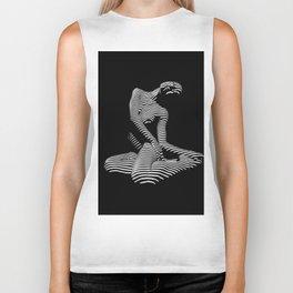 0111-DJA Abstract Nude Black & White Light Zebra Pattern Slender Woman Beautiful Body Flow Biker Tank