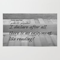 jane austen Area & Throw Rugs featuring Jane Austen Reading by KimberosePhotography