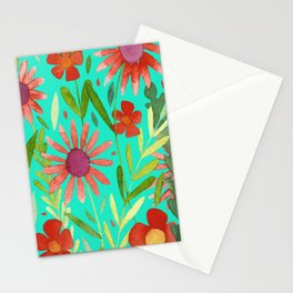 Flower Burst Orange and Turquoise, floral pattern design Stationery Cards