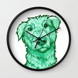 Green Wolfhound Wall Clock