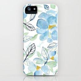 Blue flower garden watercolor iPhone Case