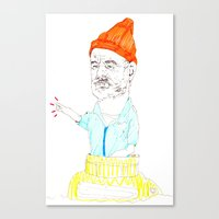 steve zissou Canvas Prints featuring steve zissou by withapencilinhand