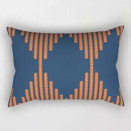 Moon Phases Pattern in Navy Blue and Burnt Orange Rectangular Pillow