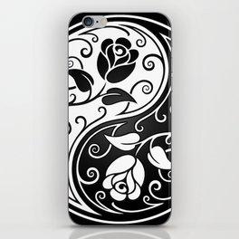 Black and White Yin Yang Roses iPhone Skin