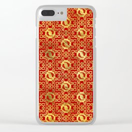 Luxury Oriental Gold on Red Koi Fish Pattern Clear iPhone Case