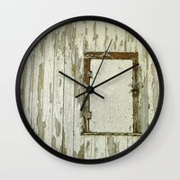 cabin Wall Clocks featuring Yellow Cabin by Nancy Smith