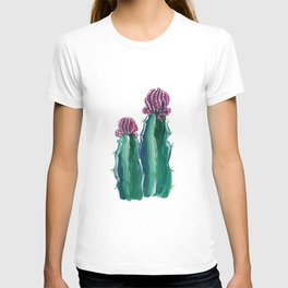 Purple and green cactus illustration T-shirt