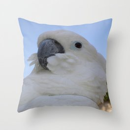 Ruffled Feathers Of A Blue Eyed Cockatoo Throw Pillow