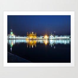 Golden Temple at Night Art Print