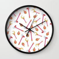 magical girl Wall Clocks featuring Magical Girl Weapons by mimia