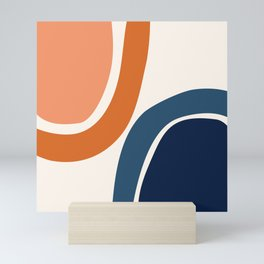 Abstract Shapes 34 in Burnt Orange and Navy Blue Mini Art Print