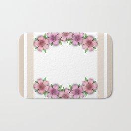 Vintage . Flowers pink Azaleas on a white background . Bath Mat