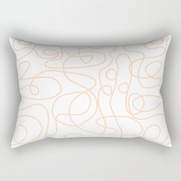 Doodle Line Art   Peach/Apricot Lines on White Background Rectangular Pillow