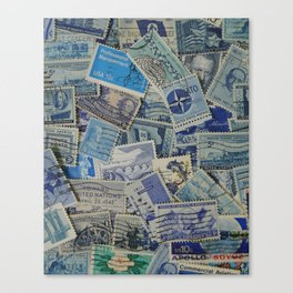 Vintage Postage Stamp Collection - Blue Canvas Print