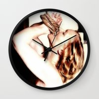 bondage Wall Clocks featuring BONDAGE BOUND by TARA SCHLAYER