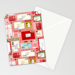 Kids Letters to Santa l Christmas Pattern - Pink Stationery Cards