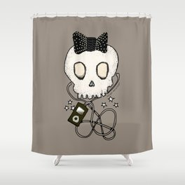 Girly Skull with Black Bow / Die for Music Shower Curtain