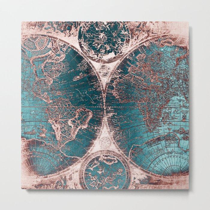 Antique World Map Pink Quartz Teal Blue by Nature Magick Metal Print