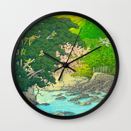 Vintage Japanese Woodblock Print Beautiful Water Creek Grey Rocks Green Trees Wall Clock
