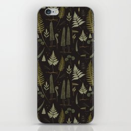 Fern pattern black iPhone Skin